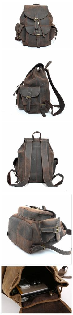 HANDMADE ANTIQUE CRAZY HORSE LEATHER BACKPACK FOR CAMPING CARRY ON LUGGAGE HIKING BACKPACK