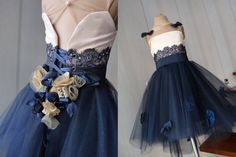 FLAVIA Navy Blue Lace Champagne Gold Flowers Tulle Flower Girl