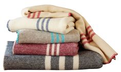 Cozy Coyuchi Striped Wool Blankets