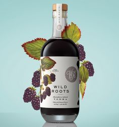 Beautiful designed wild roots flavoured vodka packaging by Sasquatch Agency. Example is the marionberry infused flavour. Juice Packaging, Beverage Packaging, Bottle Packaging, Brand Packaging, Limoncello, Marionberry, Alcohol Bottles, Infused Vodka, Liqueur