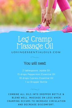Leg Cramp Massage Oil Recipe with Essential Oils | Jojoba Oil | Peppermint Oil | Cypress Oil | Massage Oil Recipe | Dropper Bottle