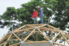 Architects with many projects. Bamboo Architecture, Organic Architecture, Architecture Details, Dome Structure, Bamboo Structure, Bamboo Building, Natural Building, Bamboo House, Bamboo Garden