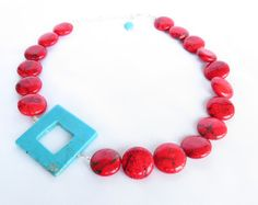 Turquoise and Red Necklace - Asymmetrical Turquoise and Red Statement Necklace