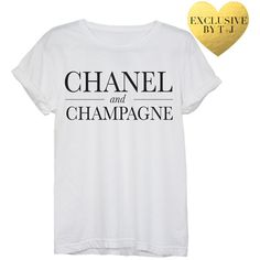 Chanel and Champagne Tee ($32) ❤ liked on Polyvore featuring tops, t-shirts, shirts, tees, white, chanel t shirt, white shirt, chanel tee, chanel shirt and off white shirt