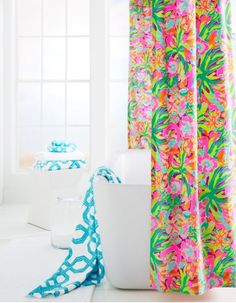 Lilly Pulitzer Sister Florals Shower Curtain by Garnet Hill.
