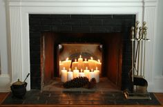 Candles in a non functioning fireplace. Great tips