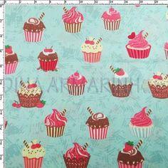 R$11,50 Tecido Estampado para Patchwork Importado- Cupcakes e Listras (0,50x1,40)