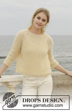 Le Conquet Jumper - Jumper with raglan, moss stitch and ¾ sleeves, knitted top down. Size: S - XXXL Piece is knitted in 1 strand DROPS Alpaca and 2 strands DROPS Kid-Silk. - Free pattern by DROPS Design Ladies Cardigan Knitting Patterns, Jumper Patterns, Knitting Patterns Free, Free Knitting, Crochet Patterns, Knit Poncho, Drops Design, Hand Knitted Sweaters, Wool Sweaters