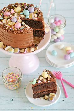 Chocolate Malt Cake:  A classic chocolate cake topped with chocolate malt frosting and spring malt ball candies—this is one Easter creation that's so beautiful, we can't stop looking!