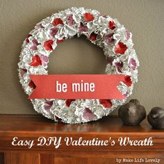 Easy DIY Valentine's Day Paper Wreath Tutorial ---- Straw Wreath Form, Red & White Glitter Paper, Old Book Pages, White Letter Stickers, Scallop Paper Punch, Pencil, Glue Gun