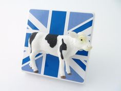 Funky Blue Union Jack Cow Light Switch or Dimmer Switch!  Handmade by Candy Queen Designs