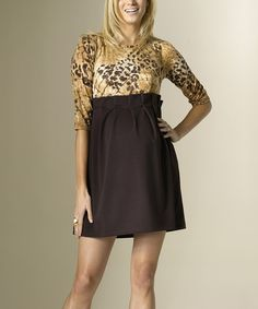 Love this Brown & Tan Leopard Bardot Maternity Empire-Waist Dress by Rosie Pope Maternity on #zulily! #zulilyfinds