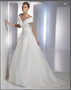 $169.99 Junoesque Off The Shoulder Organza Satin Chapel Train Wedding Gown In Canada Wedding Dress Prices OTS-037 - ca-bridalss.com