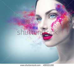 705ecaeb0e5b Fashion model girl portrait with colorful powder make up. Beauty woman  bright color makeup. Close-up of Vogue style lady face, Abstract multicolor  make-up, ...