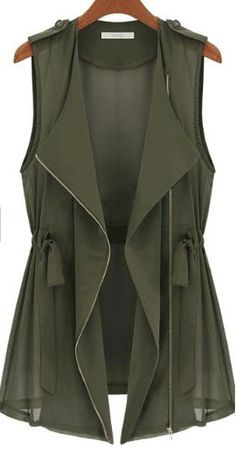 Green Drape Collar Sleeveless Zip Front Drawstring Waitcoat