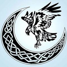 Hawk and Celtic Moon Tattoo Design - Great black tribal hawk and Celtic Moon. Celtic Tribal, Celtic Art, Celtic Crafts, Celtic Symbols, Celtic Tattoos, Tribal Tattoos, Tatoos, Guy Tattoos, Turtle Tattoos