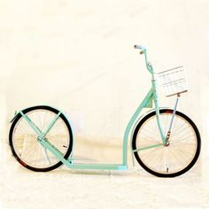 """Amish made Scooter.""""Martha Blue"""" edition as seen in Martha Stewart Living. this looks like great fun! Tricycle, Reform School, Scooter Bike, Kick Scooter, Amish Country, Tiffany Blue, Cool Gadgets, Aqua, Unique"""