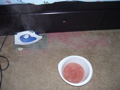How to red stains out of beige carpet!! I tried this and it really does work! ~Susie