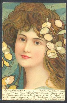 PD124 ART NOUVEAU  KOSA BEAUTIFUL LADY FLOWERS in HAIR  Fine LITHO 1904