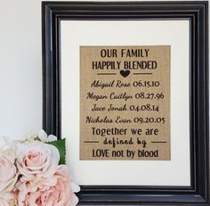 Blended Family Sign - Stepmother Gift - Our Family Happily Blended - Blended…