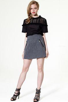 Peyton Pocket Front Denim Skirt Discover the latest fashion trends online at storets.com # #storets on me #storet