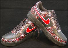 Remixdakickz Custom Painted Red and Black Air Force One Sneakers