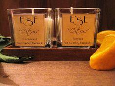 Couple of medium candles Citrus: fresh and citrusy scent .  Bergamot and cedarwood.