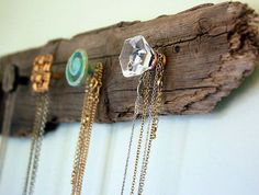 Click Pic for 33 Creative DIY Jewelry Organizers | DIY Jewelry Storage Ideas - Driftwood Necklace Holder | DIY Storage Ideas for Small Spaces
