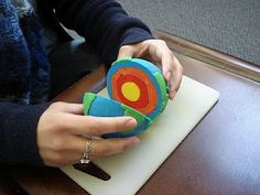 Play-dough layers of the earth! A lot of Montessori teachers do this.