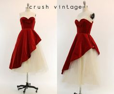 50s Coquette Velvet Dress XS / 1950s Tulle Party by CrushVintage