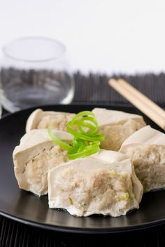 Steamed stuffed tofu - replace pork with hydrated TVP crumbles