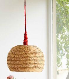 lámparas de techo con cestas de mimbre