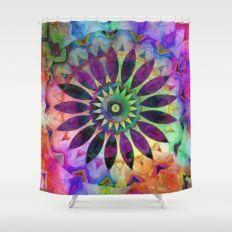 Purple Flower Rainbow Kaleidoscope Shower Curtain