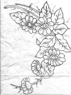 by vera arte em Floral Embroidery Patterns, Hand Embroidery Stitches, Hand Embroidery Designs, Hand Stitching, Painting Patterns, Fabric Painting, Outline Drawings, Art Drawings, Bead Sewing