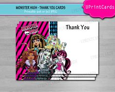 DIY PRINTABLE - Monster High - Coordinating Thank You Card - 4x6 or 5x7jpeg. $6.00, via Etsy.