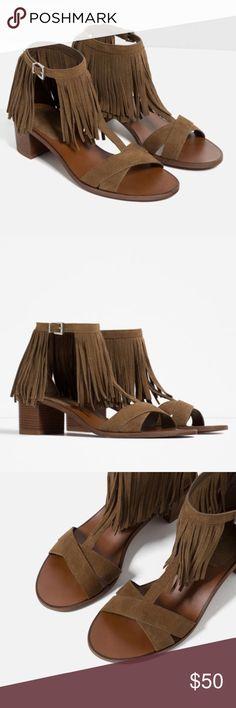 Zara Fringe Genuine Leather Sandals Perfect addition to your summer wardrobe. Euro 39 Zara Shoes Sandals