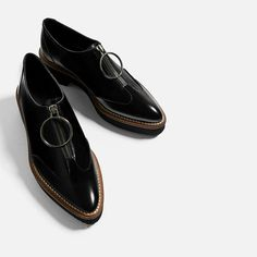 Image 1 of LEATHER BLUCHERS WITH RING PULL-TAB from Zara