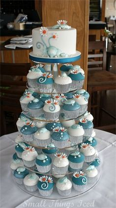 Daisies and Seashells Cupcake Wedding Tower