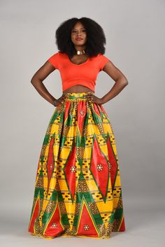 SPRING SALE luxury African print Maxi Skirt yellow by RAHYMA ~African fashion, Ankara, kitenge, African women dresses, African prints, Braids, Nigerian wedding, Ghanaian fashion, African wedding ~DKK