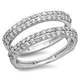 0.90 Carat (ctw) 14K Gold Round Diamond Ladies Anniversary Wedding Band Enhancer Guard Double Ring