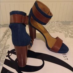 Brown and Denim Blue Nine West heels Brown and denim blue heels. Thick heel for an everyday wear. Super comfortable only worn once Nine West Shoes Heels