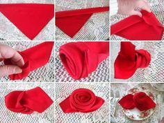 Vintage Deko mit Faltanleitung-Rote Rose einfach zum nachbasteln