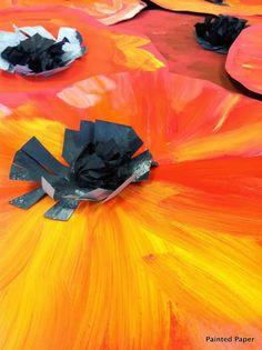 Georgia O'Keeffe's Poppies – Painted Paper Art Art Lessons For Kids, Artists For Kids, Art For Kids, Kid Art, Kindergarten Art, Preschool Art, Georgia O'keefe Art, Remembrance Day Art, First Grade Art