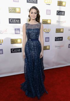 Emmy Rossum Evening Dress - Emmy Rossom looked like a starry night in this midnight blue organza dress at the Critics' Choice Awards.
