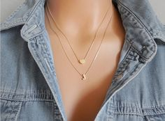 Heart and Initial Layered necklace. Gold Initial by saruscrafts