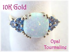 10K Gold -  Fiery Opal & Blue Tourmaline Estate Cocktail Ring ~ Size 7 -  Gift Boxed - June Wedding Mothers Day Gift - FREE SHIPPING by FindMeTreasures on Etsy