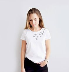 Embroidered bird tshirt - hand embroidered tshirt - birds design - women t-shirt - cotton T-shirt is: • 100% organic natural cotton; • Colors: white, black & grey (*if you want special color or size just write me); • Sizes: XS - XL • Hand embroidered: • Shipping worldwide. ✿ I will