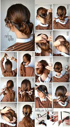 Vintage Hairstyles Tutorial 5 - If you are one of that kind of girl who love to experiment with hair and try new bun hairstyles then it's time to up notch your hair buns. You can create beautiful hairstyles with Vintage Hairstyles Tutorial, 1940s Hairstyles, Everyday Hairstyles, Bun Hairstyles, Hairdos, Updos, Straight Hairstyles, Vintage Updo, Retro Updo