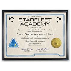 Customized Starfleet Academy Diploma With Frame - The Official Star Trek Store. Gotta have one!!!