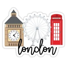 'London' Sticker by Emily Cope Homemade Stickers, Diy Stickers, Scrapbook Stickers, Planner Stickers, Sticker Ideas, Up Pixar, Cute Laptop Stickers, Free Printable Stickers, Tumblr Stickers